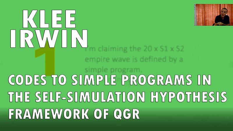 Codes to Simple Programs in the Self-Simulation Hypothesis Framework of QGR